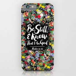 Psalm 46:10 Botanical Wildflowers Peony Floral Watercolor iPhone Case