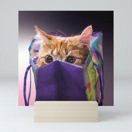 Cat in bag Mini Art Print