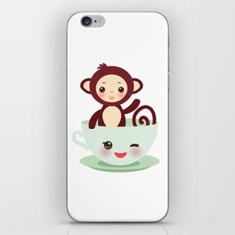 Cute Kawai pink cup with brown monkey iPhone Skin