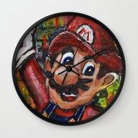 mario Wall Clocks featuring Mario  by Megan Bailey Gill