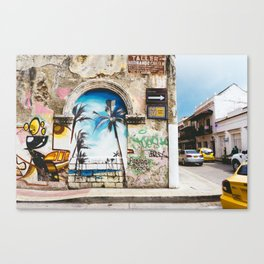 Cartagena, Colombia Street Art - Palm Trees Canvas Print