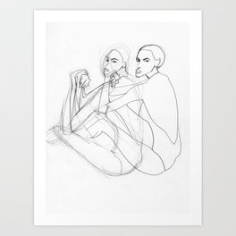 Bathing Female Double Art Print