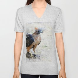 Hungry Red Teiled Hawk Unisex V-Neck