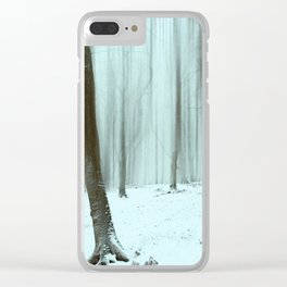 Abstract Winter Forest Clear iPhone Case