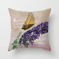 bible verse Throw Pillows featuring Amazing Grace - Verse by Anita Faye