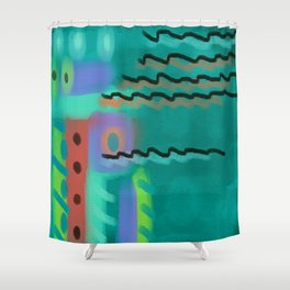 Funky Abstract Digital Painting Shower Curtain