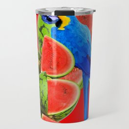 ABSTRACT RED WATERMELON & BLUE MACAW PARROT Travel Mug