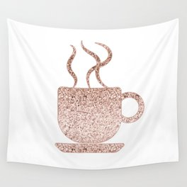 Sparkling rose gold coffee mug Wall Tapestry