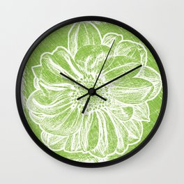 White Flower On Lime Green Crayon Wall Clock