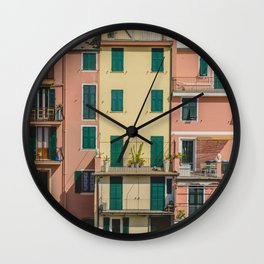 Colorful apartments in Cinque Terre Wall Clock