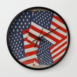 Patriotic Americana Flag Pattern Art #2 Wall Clock