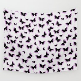Black and pink butterflies Wall Tapestry