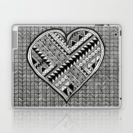 Modern, black and white, geometric shaped heart Laptop & iPad Skin