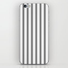 Mattress Ticking Wide Striped Pattern in Dark Black and White iPhone Skin