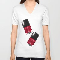 nail polish V-neck T-shirts featuring Nail Polish Rouge Rubis by BeckiBoos