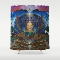 techno Shower Curtains featuring Techno-Ma by MANASPHERE studio