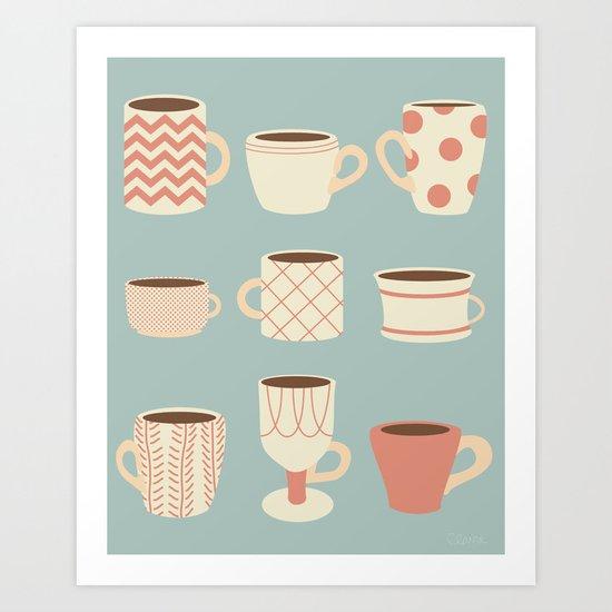 Retro Cups Too Art Print
