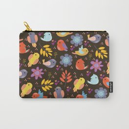 Cute doodle autumn pattern with birds and leaves Carry-All Pouch
