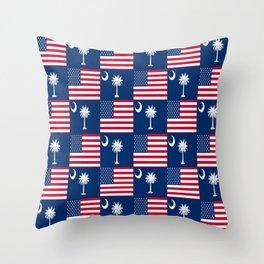 Mix of flag: Usa and south carolina Throw Pillow