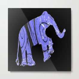 Elephant and fractal Metal Print