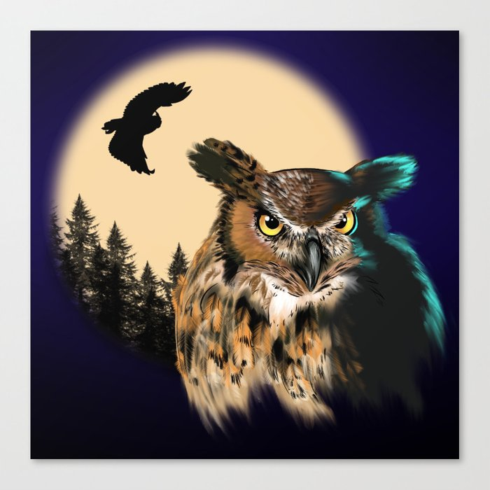 Night Owl Keepers curates Tiger Owl Canvas Print by mammalmadness at Society 6