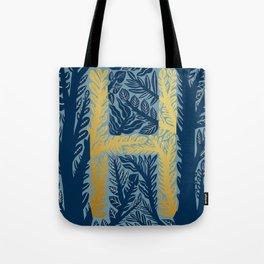 Botanical Metallic Monogram - Letter H Tote Bag