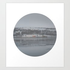 Telescope 6 cabin across the water Art Print
