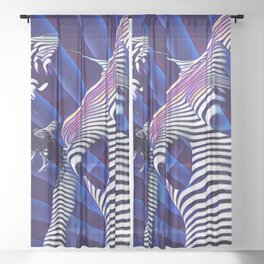 8041s-KMA Blue Nude Young Woman Striped with Light and Radiating Power Sheer Curtain