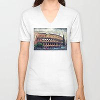 rome V-neck T-shirts featuring Colosseum Rome by jbjart