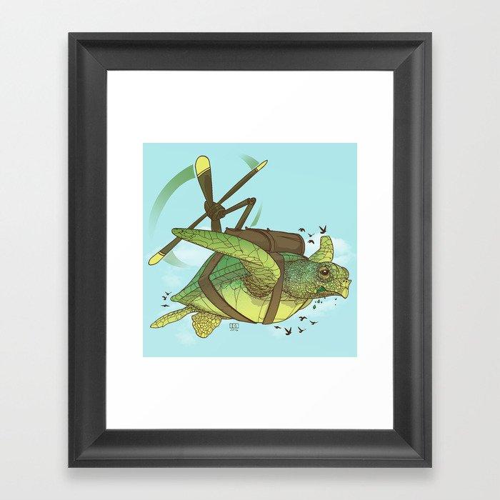Fred the Giant Flying Laser-Eyed Turtle Framed Art Print