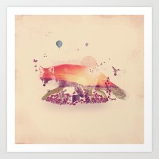 Woodlands Fox Art Print