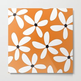 Happy Flowers Orange Metal Print