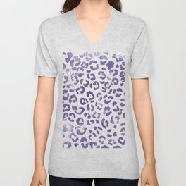 Modern hand painted leopard purple ultra violet watercolor pattern Unisex V-Neck