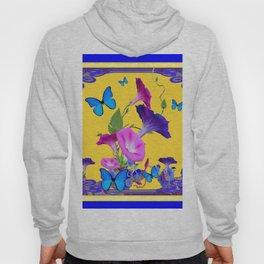 Blue & Purple Morning Glories Butterfly Patterns Golden Art Hoody