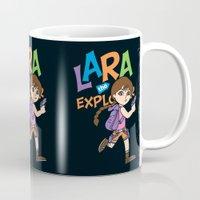 megan lara Mugs featuring Lara the Explorer by Gimetzco's Damaged Goods