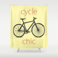 cycle Shower Curtains featuring Cycle Chic by Louise Machado