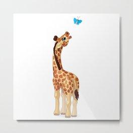 Cute little giraffe. Vector graphic character Metal Print