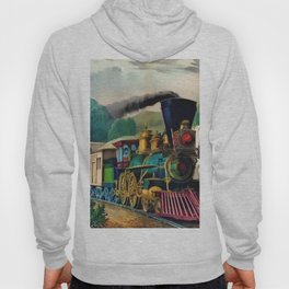 1870 Currier & Ives Steam Locomotive - The Express Train Lithograph Hoody