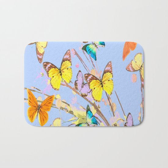Playing butterflies on a summer day - lovely blue sky background - cheerful and happy Bath Mat
