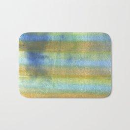 Yellow blue abstract rainbow painting Bath Mat