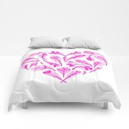 Feather Heart (Magenta) Comforters