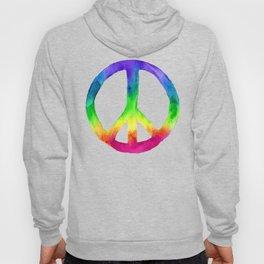 Rainbow Watercolor Peace Sign Hoody