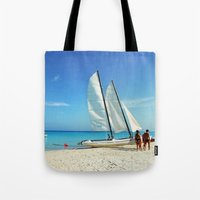 cuba Tote Bags featuring Cuba Beach by Parrish