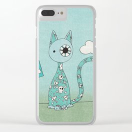 Sweet Blue Pirate Cat Clear iPhone Case