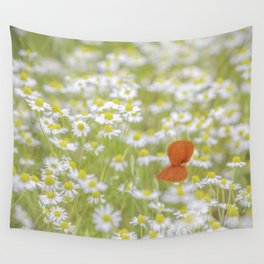 Field of Daisies and the Lonely Poppy Wall Tapestry