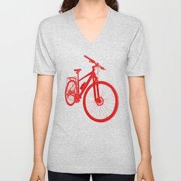 Mountain Bike (Red on Black Variant) Unisex V-Neck