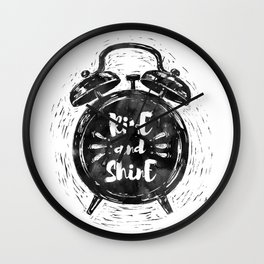 Hand drawn grunge illustration of the alarm clock with handwriting inscription Rise an Shine Wall Clock