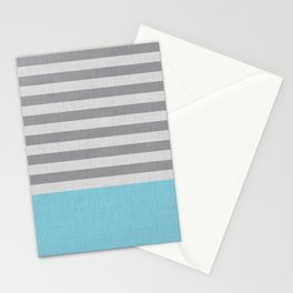 Blue and gray stripes and color block Stationery Cards