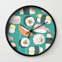 sushi Wall Clocks featuring Sushi by Abi Woodhouse