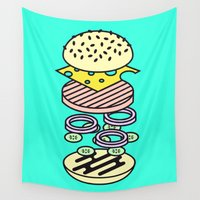 hamburger Wall Tapestries featuring Burger by Jan Luzar